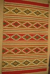 Vintage Crystal Navajo Red Wool Rug Hand Woven 40 X 25 Native American Style