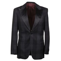 Kiton Gray And Black Plaid Soft Brushed Flannel Wool Tuxedo 38r Eu 48 Suit