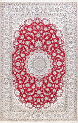 Wool And Silk Floral 225 Knots Nain Oriental Medallion Area Rug 6x9ft Red