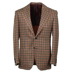 Kiton And039capriand039 Layered Check Soft Brushed Cashmere Sport Coat 38r Eu 48