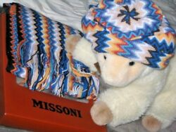 320 Missoni Iconic Vibrant Zig-zag Wool-blend Hat And Scarf Set Italy Nwt Wow