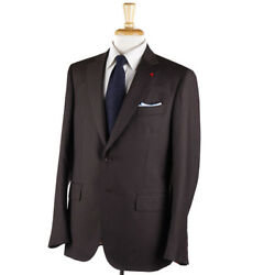 Nwt 3795 Isaia Brown Micro Patterned Super 130s Wool Suit 42 R Eu 52