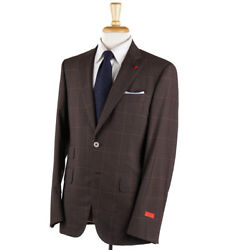 Isaia Modern-fit Chocolate Brown Check 'travel' Wool Suit 40r Eu 50 Gregory