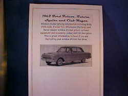 1962 Ford Falcon Cost/dealer Retail Window Sticker Pricing For Car + Options