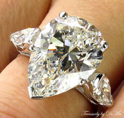 GIA 6.01CT VINTAGE ESTATE PEAR DIAMOND ENGAGEMENT WEDDING RING PLATINUM 3 STONE