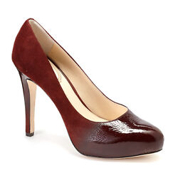 Vince Camuto Signature Browynn Leather Pumps Heels Shoes Red Pecan Ombre 7 New