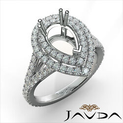 1.3ct Double Halo French V Cut Pave Set Diamond Engagement Pear Semi Mount Ring