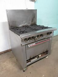 Garland H-286 Commercial Hd Nsf Natural Gas 6 Burners Stove W/oven Casters
