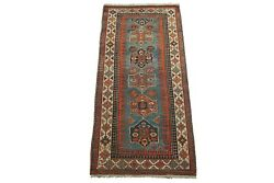 Antique 4x9 Caucasus Gallery Runner Hand Knotted Area Rug, Circa 1900 4 X 8.8