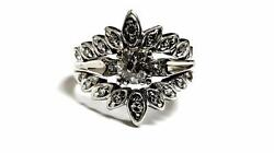 14k White Gold 0.85ct Old Miner Center Engagement Ring Vintage Antique Jewelry