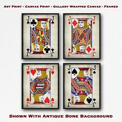 Vintage Set of 4 Jacks Poster Art - Playing Card Print Set - Poker Wall Art