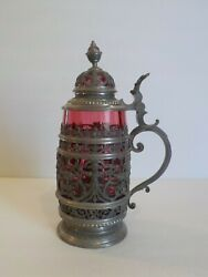 Elaborately Decorated Pewter Mounted Cranberry Glass Beer Stein c. 1803