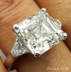 7.59CT ANTIQUE VINTAGE DECO ASSCHER DIAMOND ENGAGEMENT WEDDING RING PLAT EGL USA