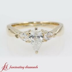 .80 Carat Pear Diamond Past Present Future Engagement Ring In 14k Yellow Gold