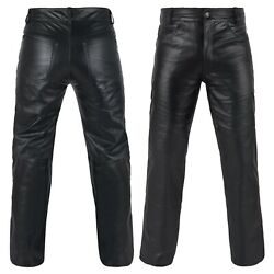 Defy Menand039s 100 Genuine Cow Skin Full Grain Motorcycle Leather Pant Jeans Style