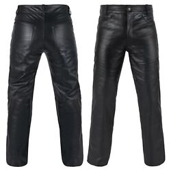 DEFY Men#x27;s 100% Genuine Cow Skin Full Grain Motorcycle Leather Pant Jeans Style $57.99
