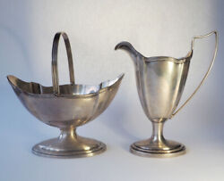 Antique J E Caldwell Sterling Silver Art Deco Creamer And Candy Dish Tea Set Uk