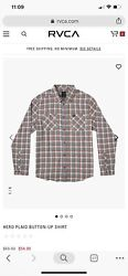 Rvca Hero Seattle Blue Plaid Button-up Size Large