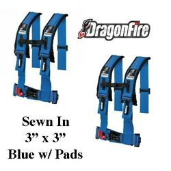 2 Sand Rail Car Dragonfire H-style 4 Point Sewn In Style Harness Blue 3 W/pads