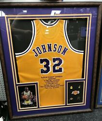 """35"""" X 42"""" Framed Magic Johnson Autographed Stats Jersey W/ Pins Mounted Memories"""