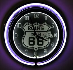 Route 66 Neon Wall Clock Brand New