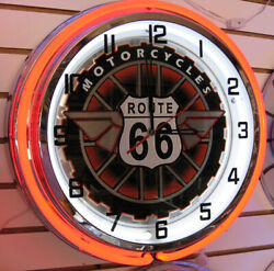 Route 66 Motorcycle Get Your Kicks On Route 66 Large Double Ring Neon Clock -nib