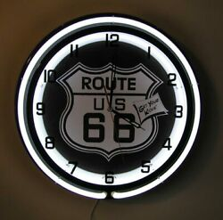 Route 66 Get Your Kicks Large Sign Neon Clock