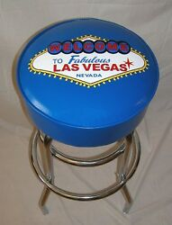 Welcome To Las Vegas Neon Sign Blue Royal Blue Bar Stool Stools - New