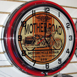 Route 66 Motorcycle Harley Mother Road Sign Large Neon Clock