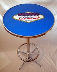 Welcome To Fabulous Las Vegas Blue Pub Table Brand New
