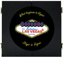 Welcome To Las Vegas Sign Dart Board Dartboard And Cabinet Kit Steel Tip Darts