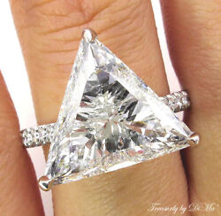 6.47CT ESTATE VINTAGE TRILLION DIAMOND ENGAGEMENT WEDDING RING EGL USA PLAT PAVE