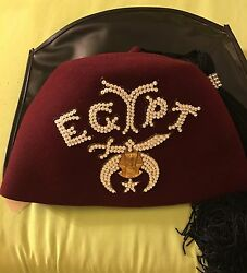 Vintage Harry M. Osers Co. Handmade And Masonic Jewelry Egypt W Case Fez Hat Sz 7