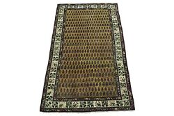 7x12 Antique Paisley Design Agra Rug Hand-knotted Gallery Runner, Circa 1900