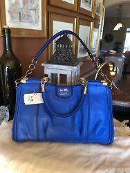 Nwt Coach Madison Pinnacle Zig-zag Perforated Carrie Satchel Cobalt 23745