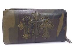 Auth Chrome Hearts Cemetery Cross Tank Camouflage Wallet Leather Unused U923