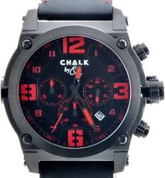 Chalk Quincy Blkrose 46mm Watch Black Stainless Steel Ip Case Red Accent Dial