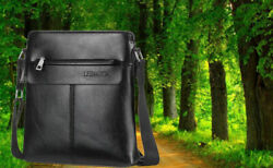 Mens Leather Shoulder Bag For Men Business Man Bag Messenger Bag Crossbody Bag $26.99