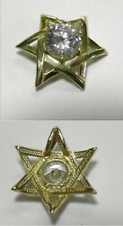 C718 Estate 14k Solid Yellow Gold Star Of David Pendant W/cz Accent