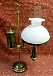 Vintage Kosmos Brenner Brass Oil Lamp Complete With Chimmney And Milk Glass Shade