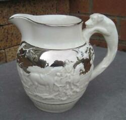 White Wedgwood Raised Relief English Hunt Scene 5.5 Pitcher With Silver Accents