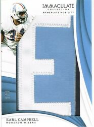 2018 Panini Earl Campbell Immaculate Collection Nameplate Nobility Letter E 6/8