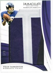 2018 Panini Fran Tarkenton Immaculate Collection Nameplate Nobility Letter T 1/9