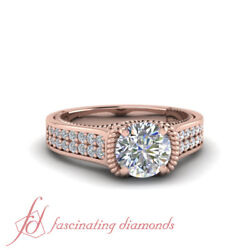 1 Carat Round Cut Diamond Twisted Rope Design Double Row Pave Engagement Ring