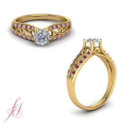 .75 Ctw Round Cut Diamond And Pink Sapphire Double Row Filigree Engagement Ring