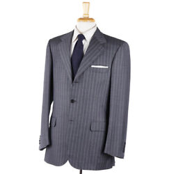 Nwt 6400 Brioni Gray And Sky Blue Stripe Super 150s Wool Suit 40 R
