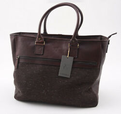 Nwt 1275 Canali 1934 Brown Leather And Wool Tweed Carryall Overnight Bag