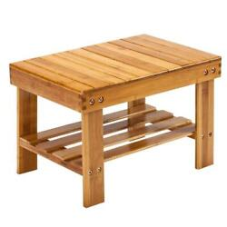 Bamboo Shower Bench Seat Bath Wood Steam Sauna Storage Chair Home Wood Color Us
