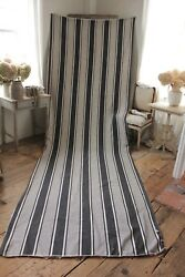 Ticking Fabric Antique Woven Cotton French Indigo Blue Stripes 51x157 Inches