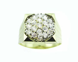 10K MENS TWO-TONE SOLID GOLD RING  WITH  CZ MR-OO8